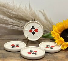 More details for vintage mid century ceramic drink coaster playing cards suits x4 trolley cart