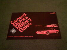 1978 GENERAL MOTORS militaire vente Chevrolet Cadillac Pontiac CORVETTE brochure