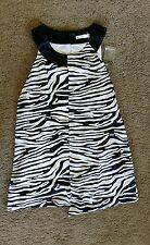 target women's black work wear zebra print top sz6 BNWOT free post D15