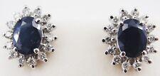 EFFY 14K White Gold Sapphire Diamond Earrings Stud Retail Price $2800.00