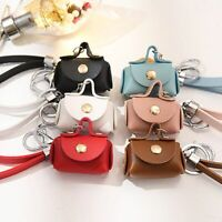 2 In1 Leather Coin Purse Keychain Coin Bag Holder Small Key Storage Bag Key Ring