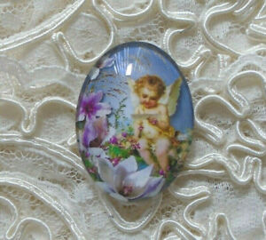 Victorian Angel 30X40mm Glitter Unset Handmade Glass Art Bubble Cameo Cabochon