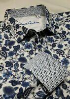 Robert Graham Men's L Hampshire Paisley Floral Blue White Long Sleeve Shirt