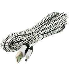 White Braided Micro USB Flat Noodle Data Cable 10FT  For Samsung Galaxy S3 S4 S5