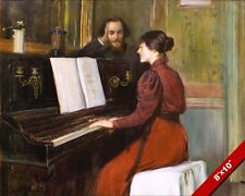 YOUNG MAN IN LOVE WITH WOMAN PLAYING PIANO ROMANCE PAINTING ART CANVAS PRINT