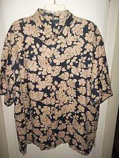 MensHawaiian Camp Shirt High Sierra Size XXL Black Beige Flowers Button Down