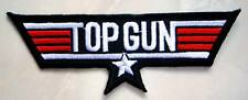 US Navy Air Force Top Gun Black Logo Embroidered Iron on Patch + Free Postage