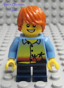 NEW Lego City MINIFIG BOY -Island Shirt Torso w/Orange Hair Short Dark Blue Legs