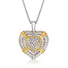 Ross-Simons Diamante Corazón Collar en Plata De Ley & 18kt Oro sobre Sterling