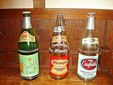 3 VINTAGE SODA BOTTLES-2 CANFIELDS & 1 HYDROX