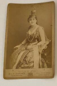 Antique Cabinet Card Photo British Actress W&D Downey London Photographer Queen