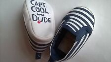 BABY PRAM SHOES NAVY WHITE STRIPED CAPT. COOL DUDE UP TO 12 LBS NAUTICAL HOLIDAY