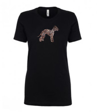 More details for bedlington terrier leopard print t-shirt gift idea dog ladies top lamb dog