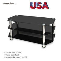"Tempered Glass 32""- 60""TV Stand 3 Tier Unit Cabinet Media Center Console Table"