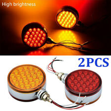 2PCS Red/Amber Round LED Side Marker Light Dual Face Turn Signal For Peterbilt