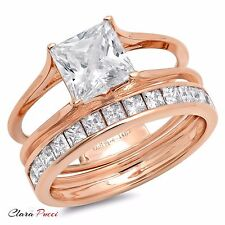 3.55ct Princess Cut Solitaire Halo Engagement Ring band set 14k Rose Gold