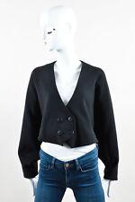 Jeremy Laing Black Wool Blend Double Breasted Long Sleeve Cape Jacket SZ XS S