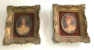 Vintage 2 Small Cameo Pictures Framed 5' X 5' - Duchess Du Barry & Unknown Lady