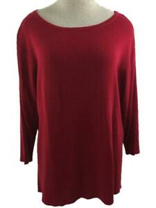Sag Harbor Woman pullover sweater size 1X red 3/4 sleeve lightly ribbed