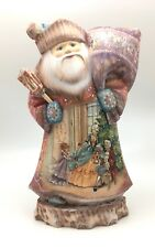 "12.5"" Tall Russian SANTA NUTCRACKER Fairytale Wooden Hand Carved Hand Painted"