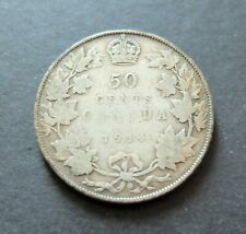 1914 SILVER CANADA 50 CENTS COIN, CIRCULATED VERY GOOD CONDITION, RAW,  LOT#16