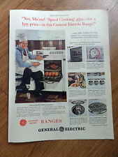 1948 GE General Electric Range Ad Speed Cooking Art Linkletter Popular MC