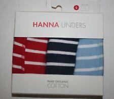 NUEVO Hanna ANDERSSON niño interior paquete de 3 bóxer ropa XS 1 3YR rayas