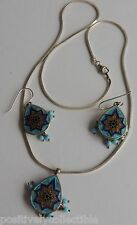 Southwestern Style Turquoise Abalone Mosaic 925 Sterling Italy Necklace Earrings