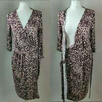 New NEXT Women's Wrap Dress V Neck Puple Mix Print Tie Side Formal Casual UK 14