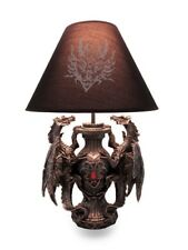 "Gothic Guardians of Light Medieval Dragons Table Lamp Figurine Decor 19"" Height"