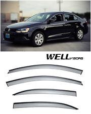WellVisors Side Window Visors W/ Black Trim For 11-Up Volkswagen Jetta Sedan