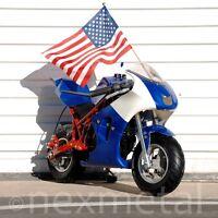 Gas Powered Kids Mini Motorcycle 40cc Pocket Bike - Blue, Red & White