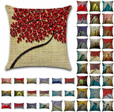 UK Art Tree Leave Painting Linen Cushion Cover Throw Pillow Case Sofa Home Decor