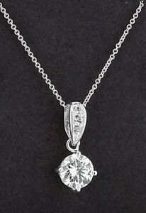 Simply Silver Sterling Silver Cubic Zirconia Solitaire Necklace Brand New & Tags