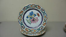 """BEAUTIFUL MOTTAHEDEH """"THE MERIAN SERVICE"""" LUNCHEON PLATE with GOLD TRIM, NEW"""