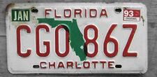 1993 FLORIDA LICENSE PLATE  # CG0 86Z