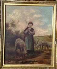 Antique 1800's Original Oil Painting, Pastoral Scene Shepherdess, Framed