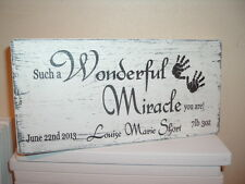 Newborn plaque personalised new baby hand prints shabby vintage chic plaque sign
