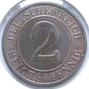 2 Reichspfennig 1936 e in Vorzüglich