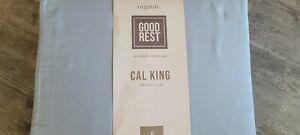NEW CALIFORNIA KING BLUE ORGANIC COTTON SHEET SET 6 PIECE