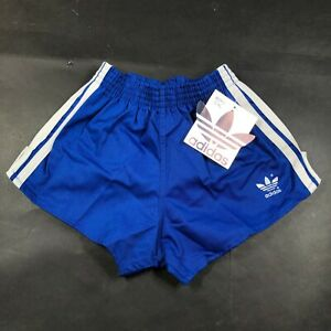 Vintage Adidas Trefoil Boys Youth L 28-30 Blue Running Shorts Cloth White NWT