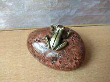 RARE Bronze Figurine desktop frog Statue Sculpture Brass Miniature Stone