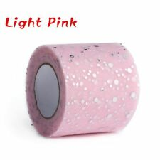 Sequin Tulle Roll Wedding Decoration 25 Yards 6.5cm Spool Tutu Organza Laser Light Pink