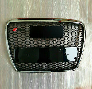 For 2005-2011 Audi A6/S6 C6 RS6 Front Mesh Grill Black Chrome Honeycomb Black