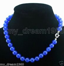 10MM 100% Natural Sapphire Blue Round Gemstone Beads Necklace 18'' AAA