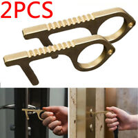 2PCS Hand Hygiene Portable Antimicrobial Brass Door Opener Elevator Handle Key