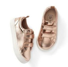 Baby Gap Girl's Rose Gold Metallic Strappy Trainers Sneakers Shoes Size 6 NWT