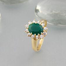 Ring Jade + Zirkonia 750/18k Gelbgold
