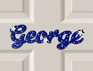 *ANY NAME & ANY COLOUR* Personalised Wooden Name Bedroom Door Sign 3 Stars #45#