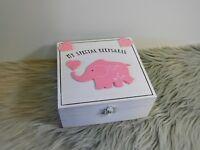 Newborn Baby Girl Elephant Wooden Keepsake Box Rustic Vintage Style Memories